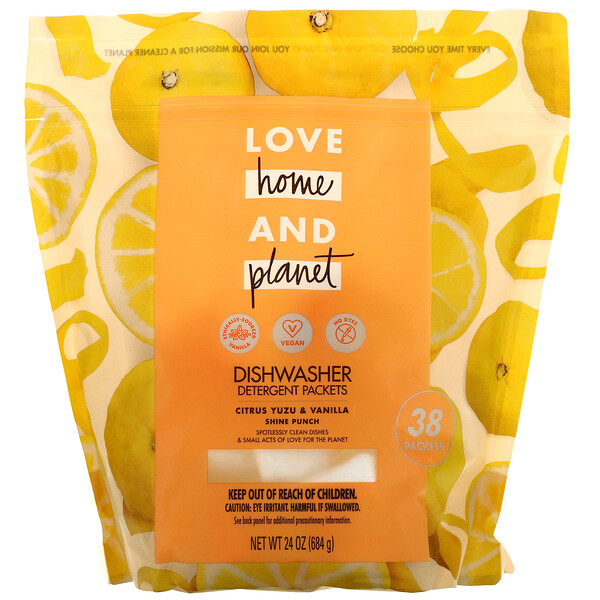 Love Home & Planet, Dishwasher Detergent Packets, Citrus Yuzu & Vanilla, 38 Packets, 24 oz (684 g)