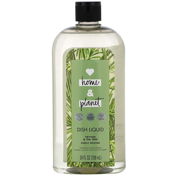 Love Home & Planet, Dish Liquid, Vetiver & Tea Tree, 24 fl oz (709 ml) (Discontinued Item)