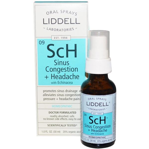 Liddell, ScH, Sinus Congestion + Headache, with Echinacea, Oral Spray, 1.0 fl oz (30 ml) (Discontinued Item)