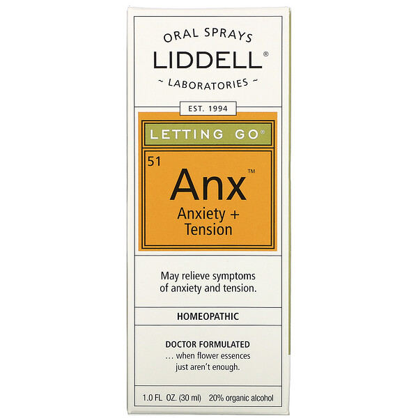 Liddell, Letting Go、Anx Anxiety + Tension、オーラル・スプレー、 1.0液量オンス (30 ml) (Discontinued Item)