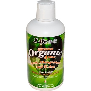 Life Time, Certified Organic 4 Blend, Noni, Mangosteen, Goji & Acai, Tropical Fruit Flavor, 32 fl oz (960 ml)