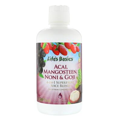 LifeTime Vitamins Lifes Basics, Смесь соков суперфруктов 4-в-1, асаи, гарциния, нони и годжи, 32 ж. унц.(946 мл)