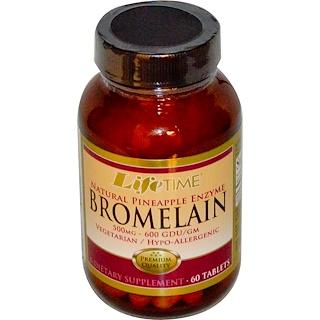 Life Time, Bromelain, enzima natural de piña, 500 mg, 60 comprimidos