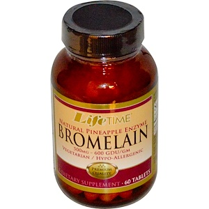 Лайф Тайм, Bromelain, Natural Pineapple Enzyme, 500 mg, 60 Tablets отзывы