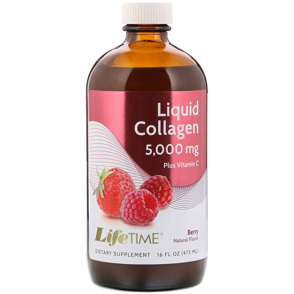 LifeTime Vitamins, Liquid Collagen Plus Vitamin C, Berry Flavor, 5,000 mg, 16 fl oz (473 ml)