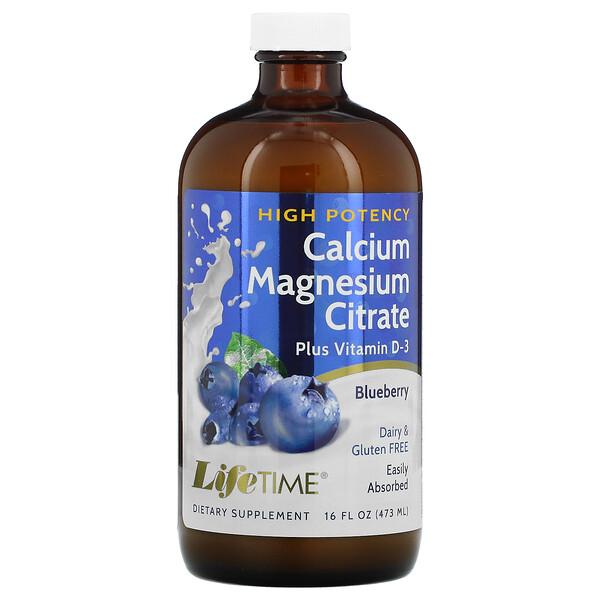 Calcium Magnesium Citrate Plus Vitamin D3, Blueberry, 16 fl oz (473 ml)