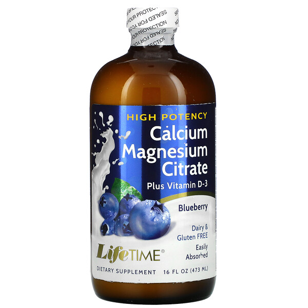 LifeTime Vitamins, Calcium Magnesium Citrate Plus Vitamin D3, Blueberry, 16 fl oz (473 ml)