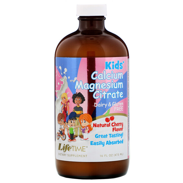 LifeTime Vitamins, Kids' Calcium Magnesium Citrate, Natural Cherry Flavor, 16 fl oz (473 ml)