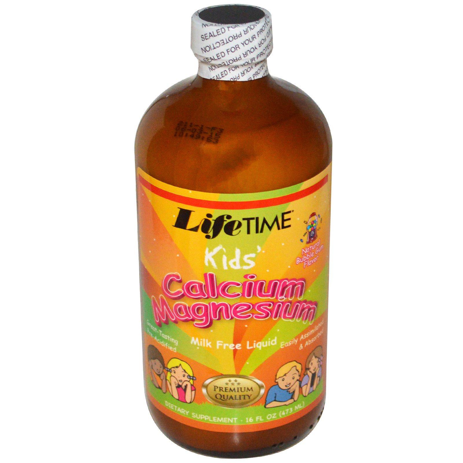 Life Time, Детский жидкий кальций с магнием, с ароматом жевательной резинки, 16 жидких унций (473 мл)