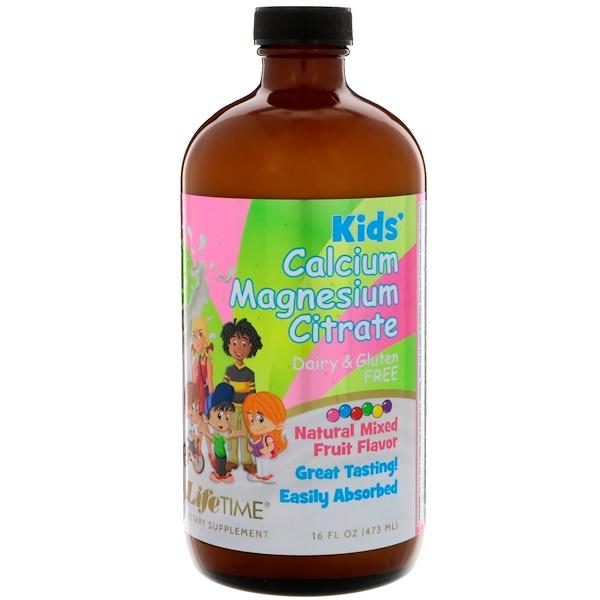 Life Time, Kids' Calcium Magnesium Citrate, Natural Mixed Fruit Flavor, 16 fl oz (473 ml)