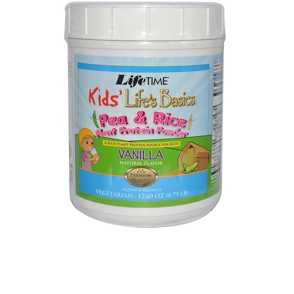 Life Time, Kids' Life's Basics, Pea & Rice Plant Protein Powder, Vanilla Natural Flavor, 12.60 oz (0.79 lb) (Discontinued Item)