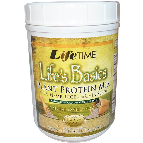 LifeTime Vitamins, Life's Basics, Plant Protein Mix, Natural Vanilla Flavor, 18.52 oz (525 g) (Discontinued Item)