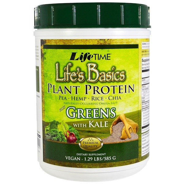 LifeTime Vitamins, Life's Basic Plant Protein Plus Greens with Kale, 1.29 lbs (585 g) (Discontinued Item)
