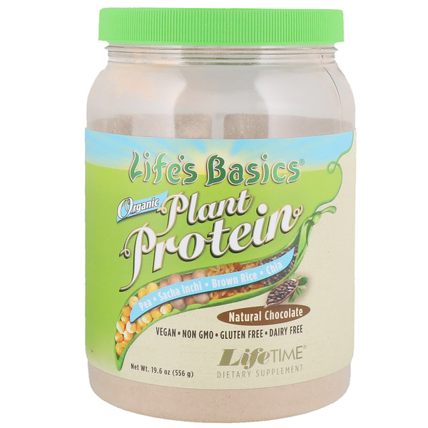 LifeTime Vitamins, Life's Basics, Organic Plant Protein, Natural Chocolate, 19.6 oz (556 g)