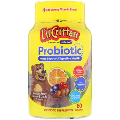 Купить L'il Critters Пробиотик, натуральная вишня, вкус апельсина и винограда, 60 конфет