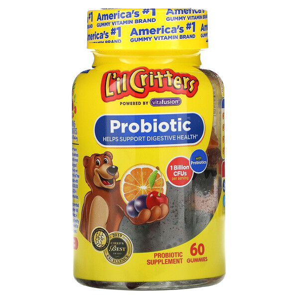 L'il Critters, Probiotique aux prébiotiques, Arôme cerise, orange et raisin, 1milliard d'UFC, 60gommes