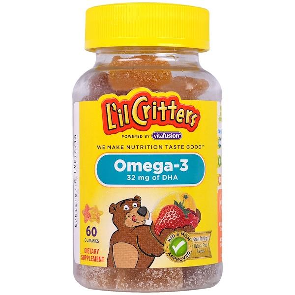 L'il Critters, 歐米伽-3,60顆軟糖