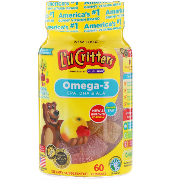 Omega-3, Raspberry-Lemonade Flavors, 60 Gummies