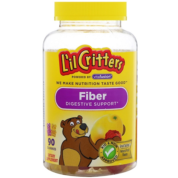 L'il Critters, Fiber Digestive Support, Natural Fruit Flavors, 90 Gummies