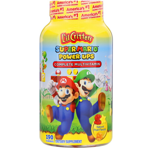 L'il Critters, Complete Multivitamin Gummies, Super Mario Power Ups, Natural Fruit Flavors, 190 Gummies (Discontinued Item)