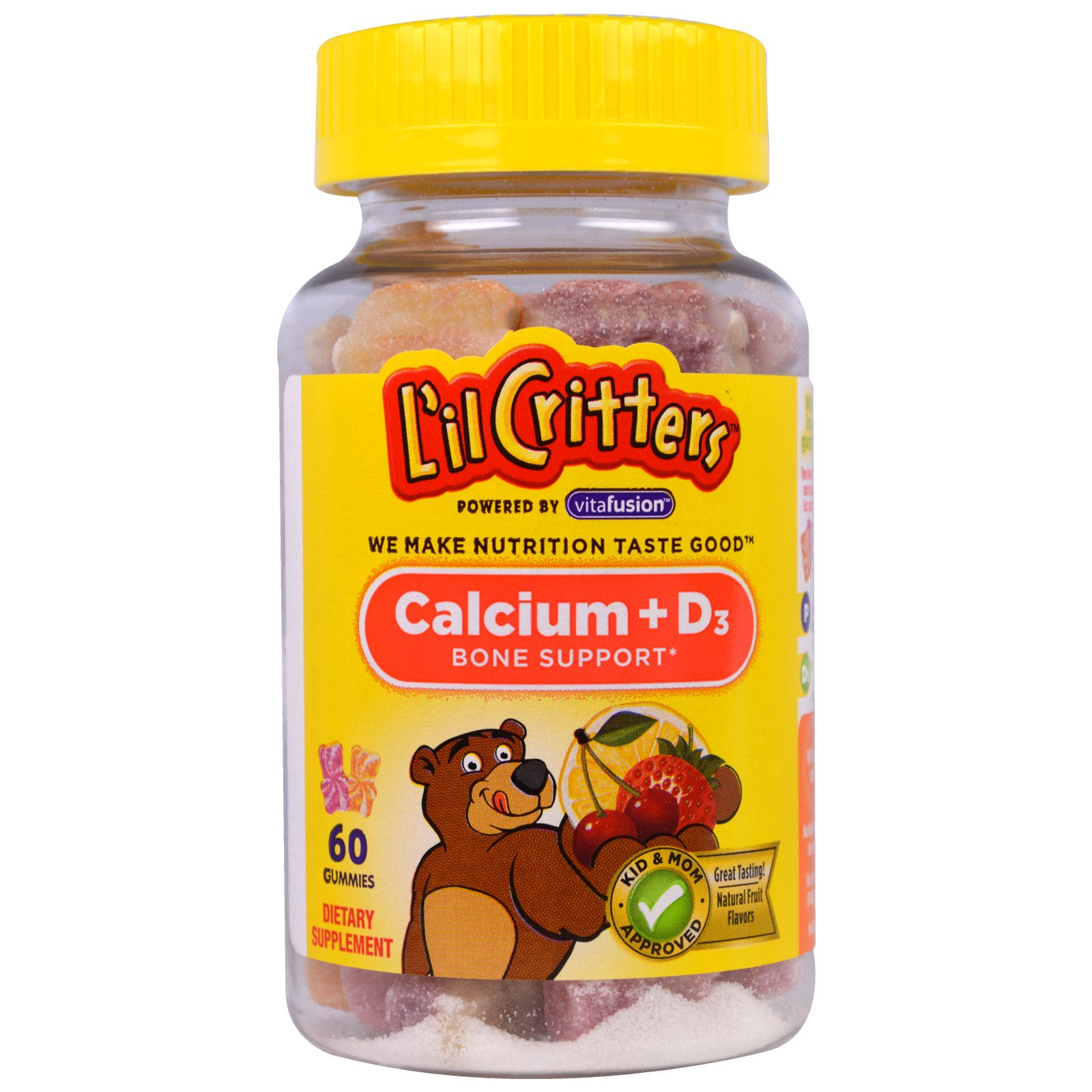 L'il Critters, Кальций+D3, здоровье костей, 60 жевательных таблеток