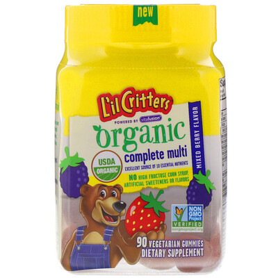 L'il Critters Organic Complete Multi, Mixed Berry Flavor, 90 Vegetarian Gummies