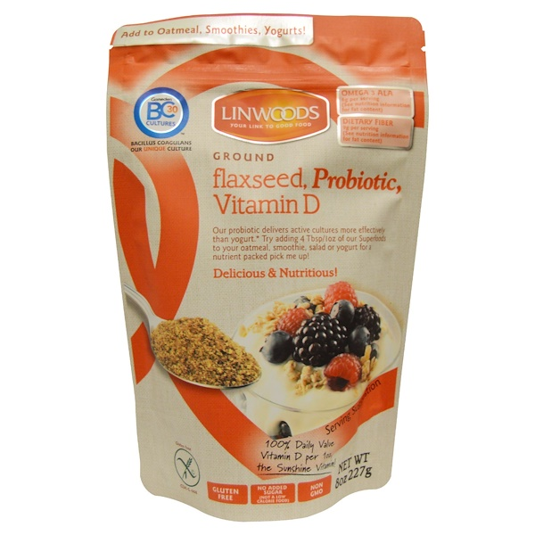 Linwoods, Ground Flax Seed, Probiotic, Vitamin D, 8 oz (227 g) (Discontinued Item)