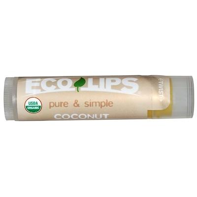 Eco Lips Inc. Pure & Simple, Lip Balm, Coconut, .15 oz (4.25 g)