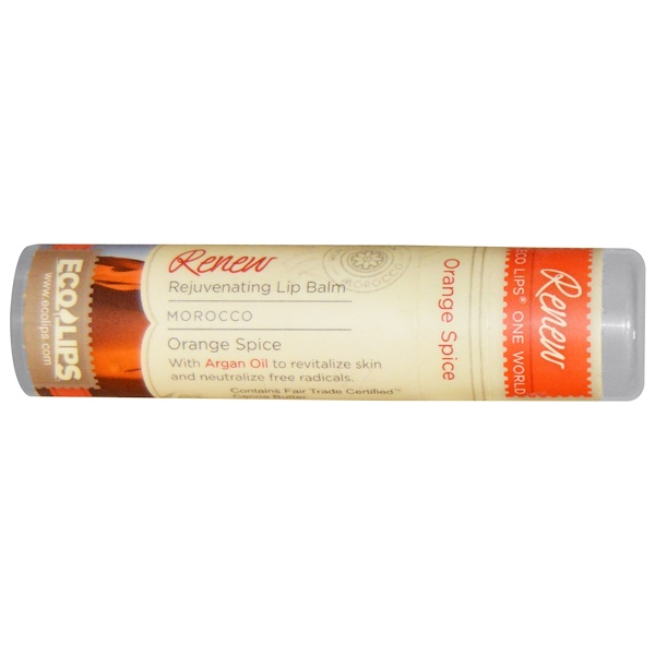Eco Lips Inc., One World, Rejuvenating Lip Balm, Renew, Orange Spice, .25 oz (7 g) (Discontinued Item)