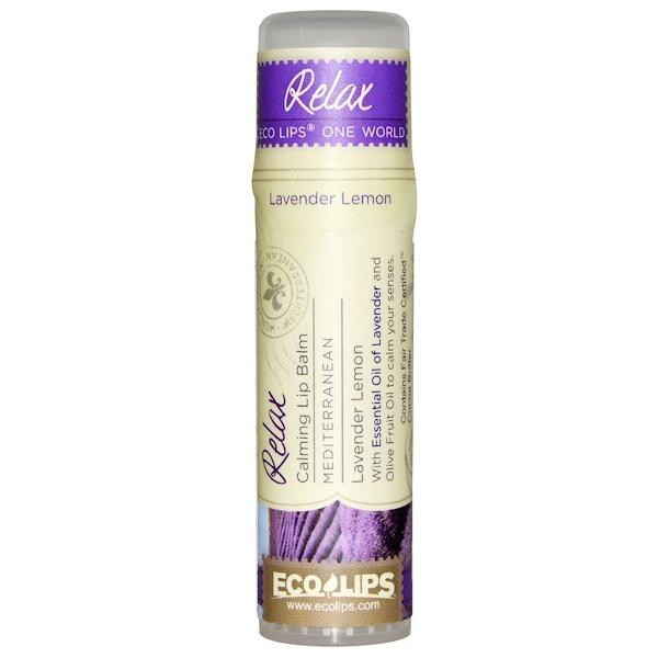 Eco Lips Inc、, One World, Calming Lip Balm, Relax, Lavender Lemon, 、25 oz (7 g)