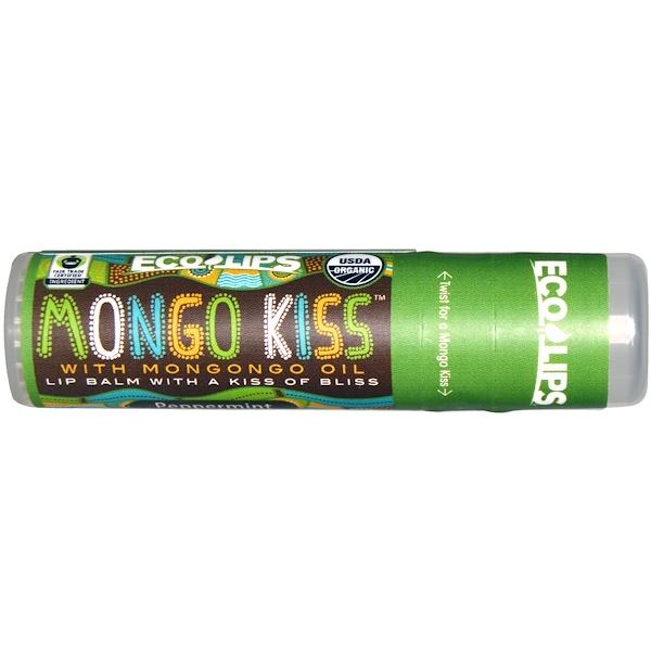 Eco Lips , Mongo Kiss, Lip Balm, Peppermint, .25 oz (7 g) (Discontinued Item)