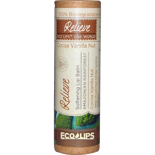 Eco Lips Inc., Softening Lip Balm, Relieve, Coconut Vanilla Nut, .3 oz (8.5 g) (Discontinued Item)