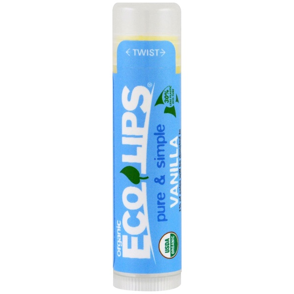 :Eco Lips Inc、, Pure & Simple, Lip Balm, Vanilla, 、15 oz (4、25 g)