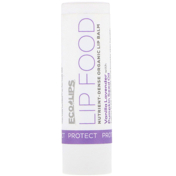 Eco Lips , Lip Food, Protect, Nutrient-Dense Organic Lip Balm, Vanilla Lavender, .15 oz (4.25 g) (Discontinued Item)