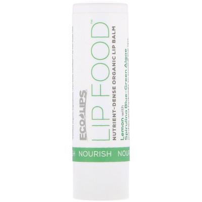 Eco Lips Inc. Lip Food, Nourish, Nutrient-Dense Organic Lip Balm, Lemon, .15 oz (4.25 g)