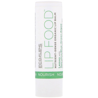 Eco Lips Inc., Lip Food, Nourish, Nutrient-Dense Organic Lip Balm, Lemon, .15 oz (4.25 g)