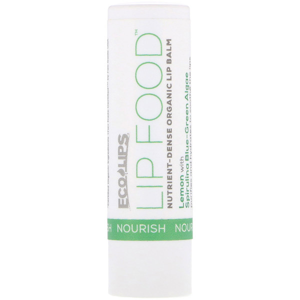 Eco Lips Inc., Lip Food, Nourish, Nutrient-Dense Organic Lip Balm, Lemon, .15 oz (4.25 g) (Discontinued Item)