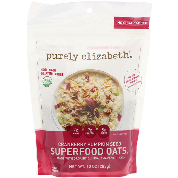 Purely Elizabeth, Superfood Oats, Cranberry Pumpkin Seed, 10 oz (283 g) (Discontinued Item)