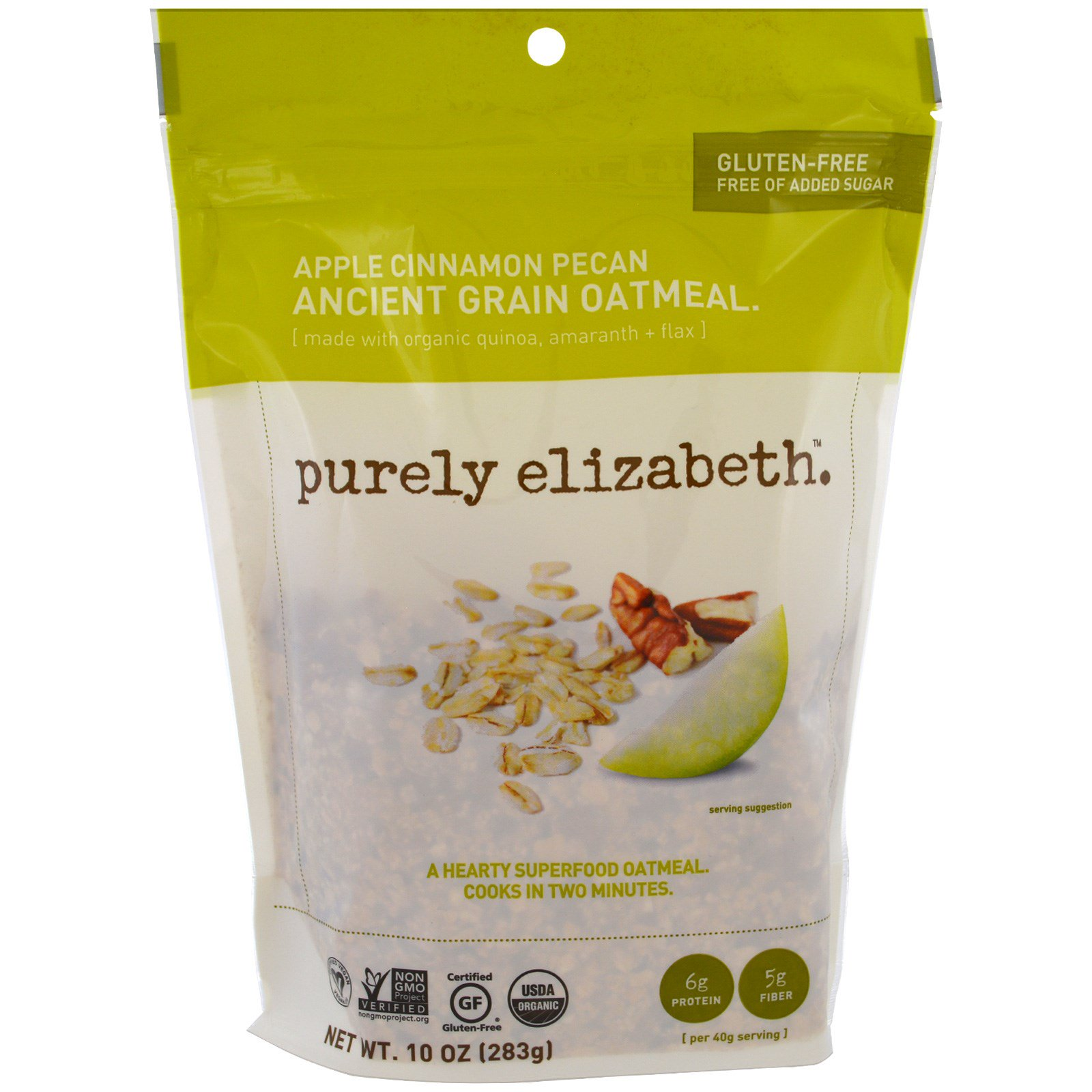 Purely Elizabeth, Античная органическая овсянка, яблоко, корица и орех пекан, 10 унций (283 г)