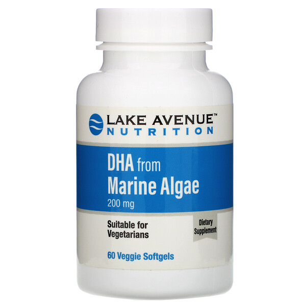 藻類由来DHA、植物性オメガ、200mg、植物性ソフトジェル60粒