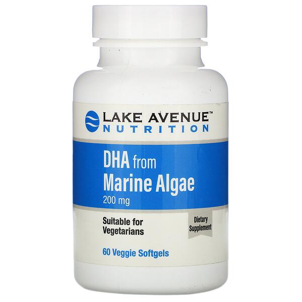 Lake Avenue Nutrition, DHA from Marine Algae, Vegetarian Omega, 200 mg, 60 Veggie Softgels