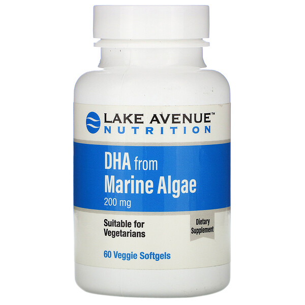 Lake Avenue Nutrition, 藻類由来DHA、植物性オメガ、200mg、植物性ソフトジェル60粒