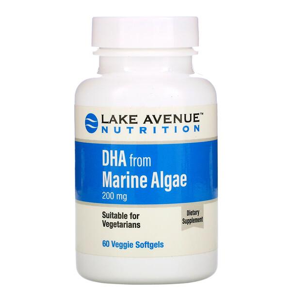 Lake Avenue Nutrition, 海洋藻類由来DHA、植物性オメガ、200mg、植物性ソフトジェル60粒