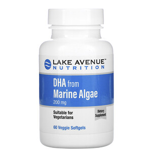 Lake Avenue Nutrition, DHA from Marine Algae, Vegetarian Omega, 200 mg, 60 Veggie Softgels отзывы покупателей
