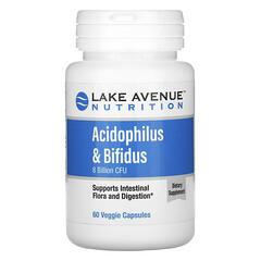 Lake Avenue Nutrition, アシドフィルス菌&ビフィズス菌、プロバイオティクスブレンド、80億CFU、ベジカプセル60粒