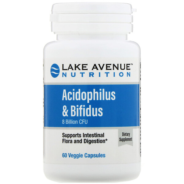 Lake Avenue Nutrition, Acidophilus & Bifidus ، 8 مليار CFU ، 60 كبسولة نباتية