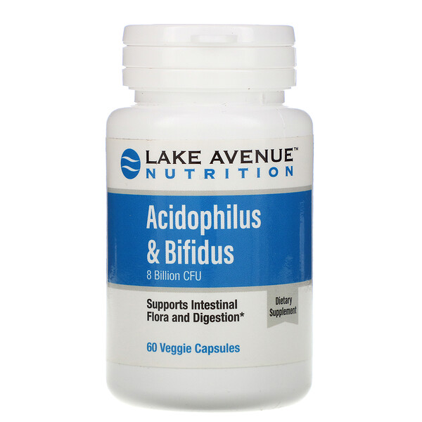 Lake Avenue Nutrition, Acidophilus & Bifidus, Probiotic Blend, 8 Billion CFU, 60 Veggie Capsules