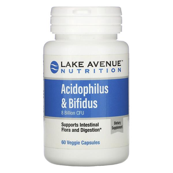 Acidophilus y bifidobacterias, Mezcla probiótica, 8000millones de UFC, 60cápsulas vegetales