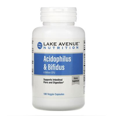 Купить Lake Avenue Nutrition Смесь пробиотиков Acidophilus и Bifidus, 8млрд КОЕ, 180веганских капсул