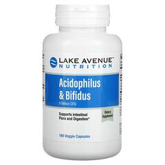 Lake Avenue Nutrition, Acidophilus и Bifidus, смесь пробиотиков, 8млрд КОЕ, 180растительных капсул